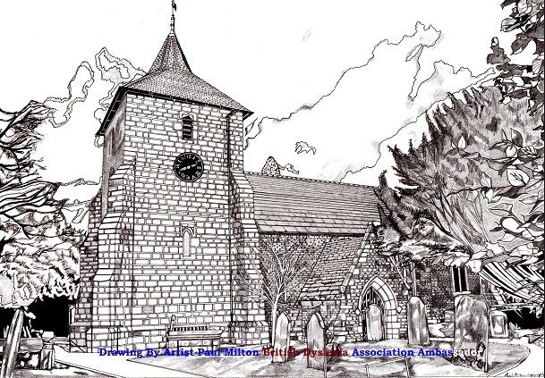 St Mary's Outside new drawing 2015 copyright (c) BY ARTIST PAUL MILTON.ARTIST