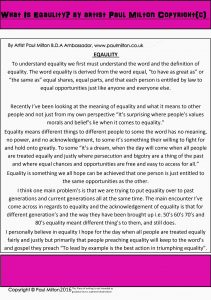 Equality writing By Artist Paul Milton Copyright 2016(c)-