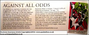 Dyslexia Awarness Article SAA Magazine Artist Paul Milton 2016 (c)Copyright